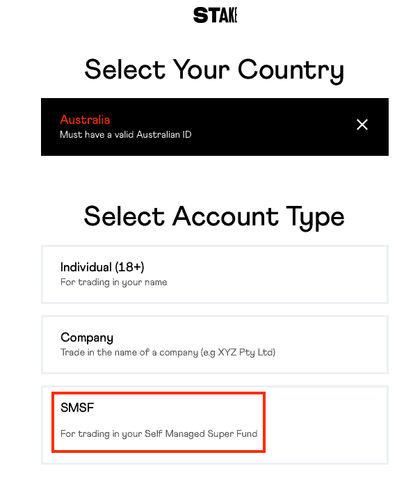 Select Country and SMSF Account Type