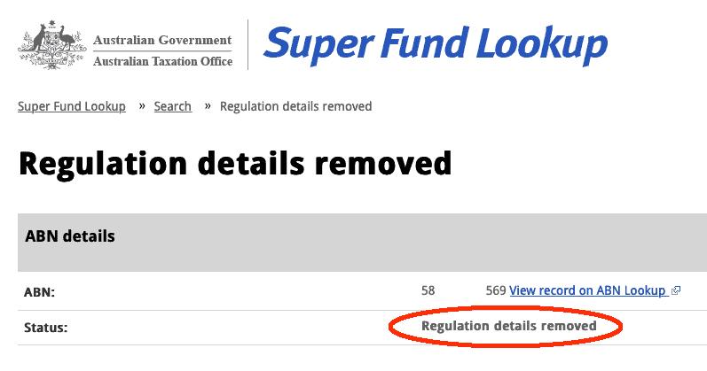 Super Fund Lookup SMSF Regulation Details Removed
